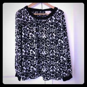Ann Taylor Loft Black and White Bow Blouse